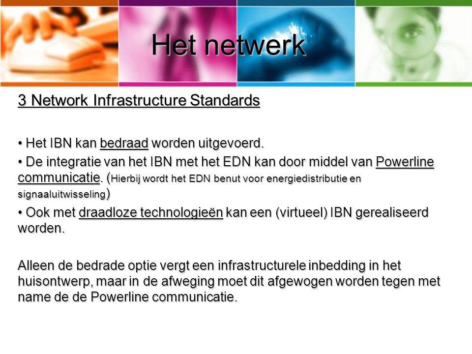 Het netwerk 3 Network Infrastructure Standards • Het IBN kan bedraad worden uitgevoerd. • De integratie van het IBN met het EDN kan door middel van Po
