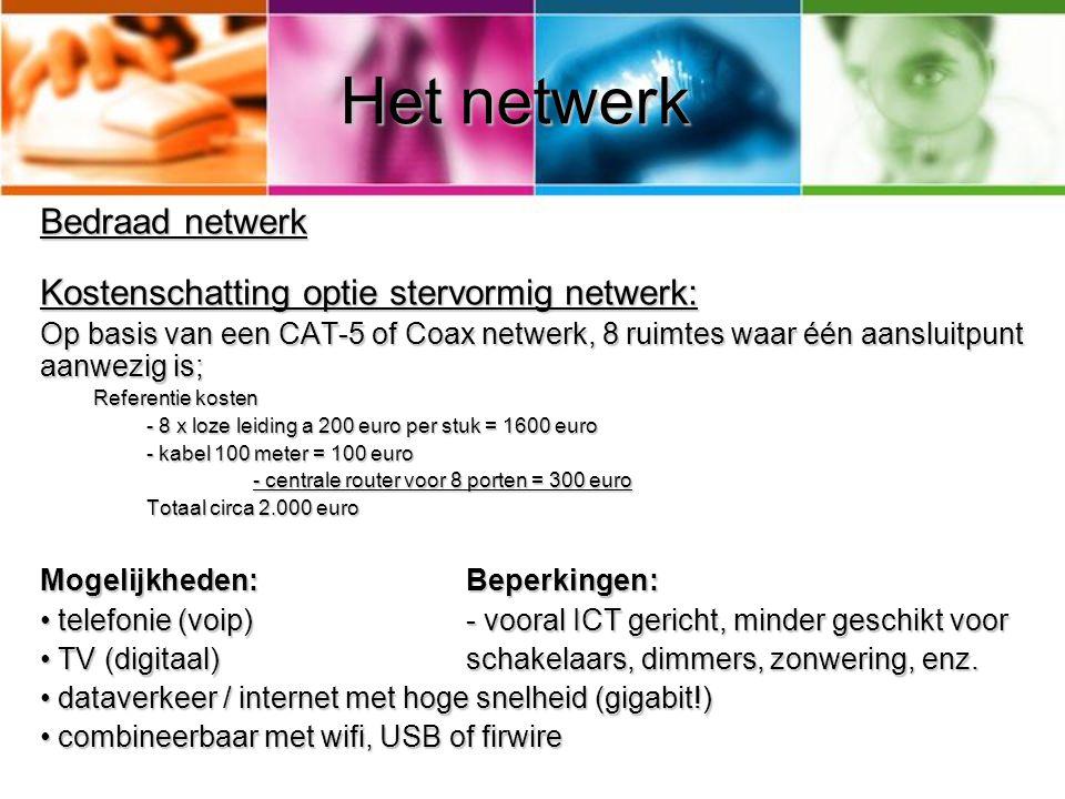 Het netwerk Bedraad netwerk Kostenschatting optie stervormig netwerk: Op basis van een CAT-5 of Coax netwerk, 8 ruimtes waar één aansluitpunt aanwezig
