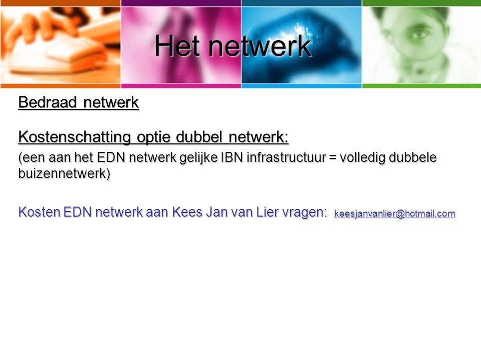 Het netwerk Bedraad netwerk Kostenschatting optie dubbel netwerk: (een aan het EDN netwerk gelijke IBN infrastructuur = volledig dubbele buizennetwerk