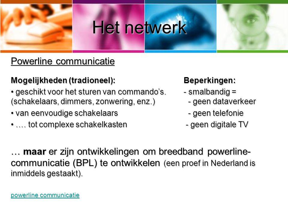 Het netwerk Powerline communicatie Mogelijkheden (tradioneel):Beperkingen: • geschikt voor het sturen van commando's.- smalbandig = (schakelaars, dimm