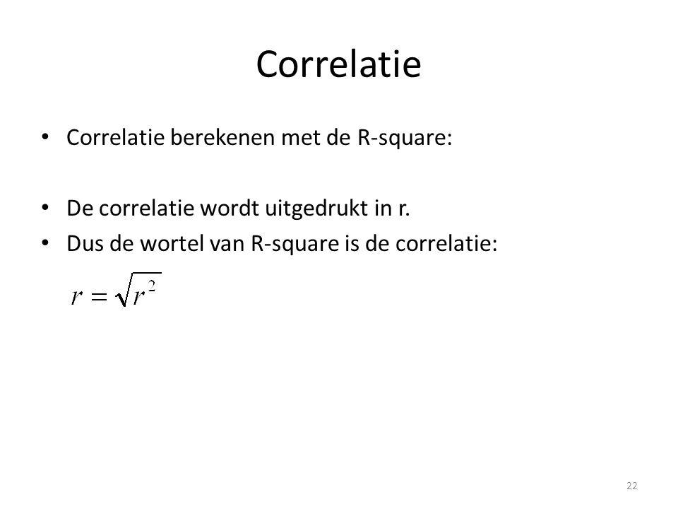 Correlatie • Correlatie berekenen met de R-square: • De correlatie wordt uitgedrukt in r. • Dus de wortel van R-square is de correlatie: 22