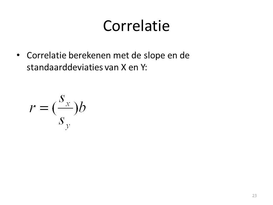 Correlatie • Correlatie berekenen met de slope en de standaarddeviaties van X en Y: 23