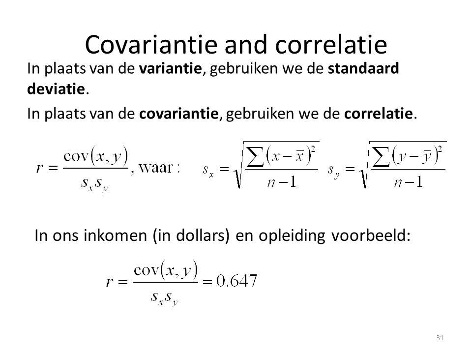Covariantie and correlatie In plaats van de variantie, gebruiken we de standaard deviatie. In plaats van de covariantie, gebruiken we de correlatie. I