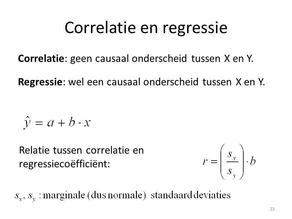 Correlatie en regressie Correlatie: geen causaal onderscheid tussen X en Y. Regressie: wel een causaal onderscheid tussen X en Y. Relatie tussen corre