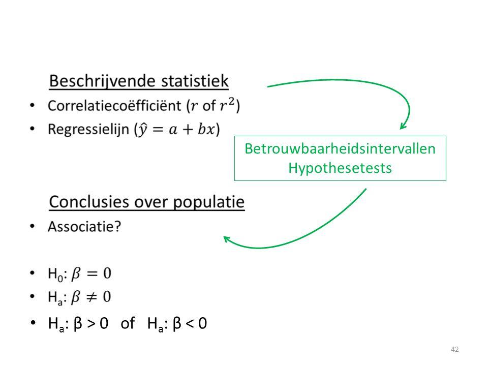 • Betrouwbaarheidsintervallen Hypothesetests • H a : β > 0 of H a : β < 0 42