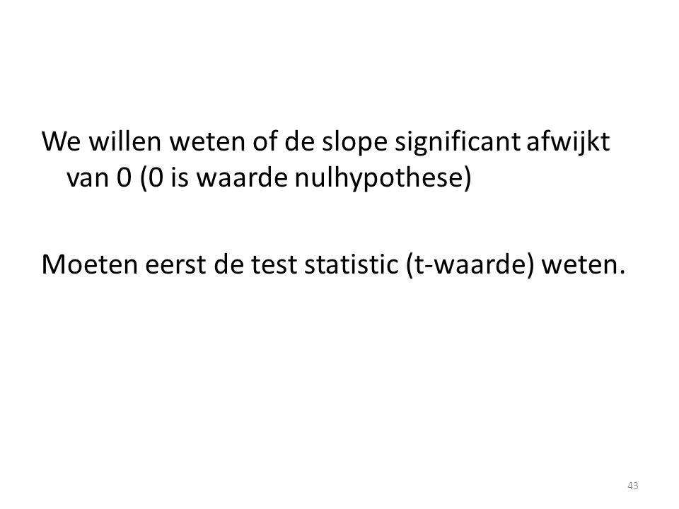 We willen weten of de slope significant afwijkt van 0 (0 is waarde nulhypothese) Moeten eerst de test statistic (t-waarde) weten. 43