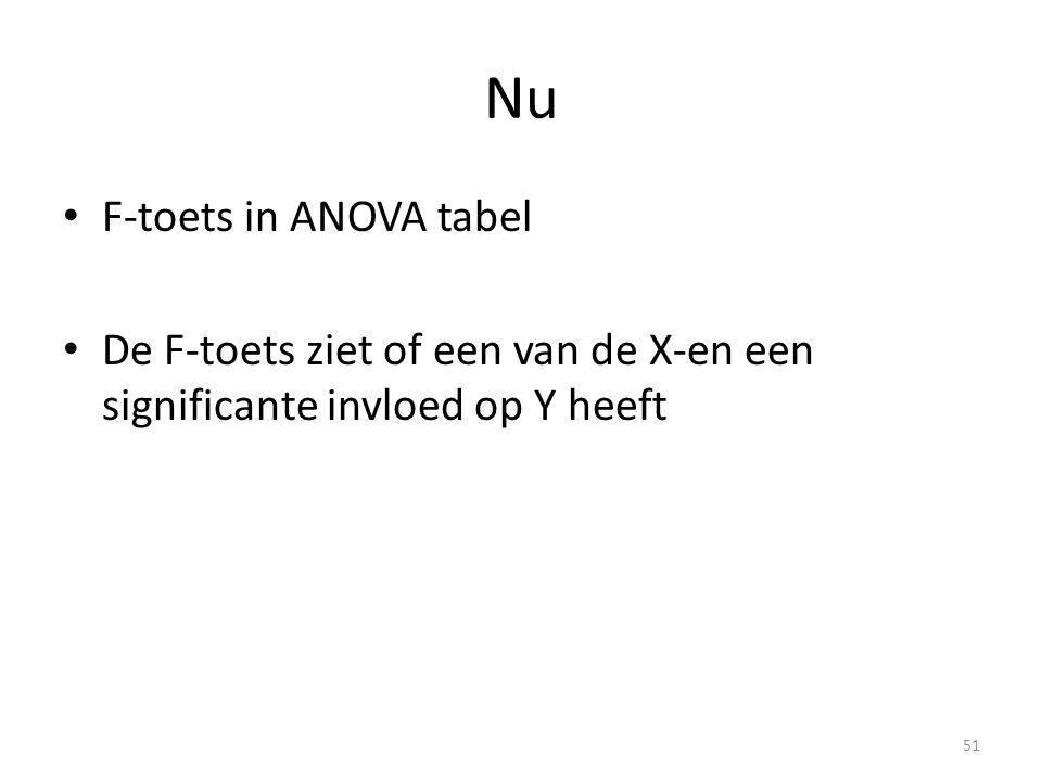Nu • F-toets in ANOVA tabel • De F-toets ziet of een van de X-en een significante invloed op Y heeft 51