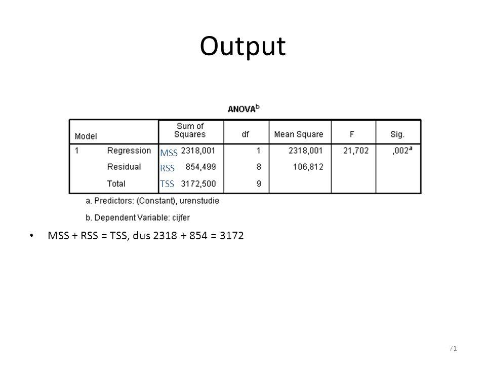 Output • MSS + RSS = TSS, dus 2318 + 854 = 3172 MSS RSS TSS 71