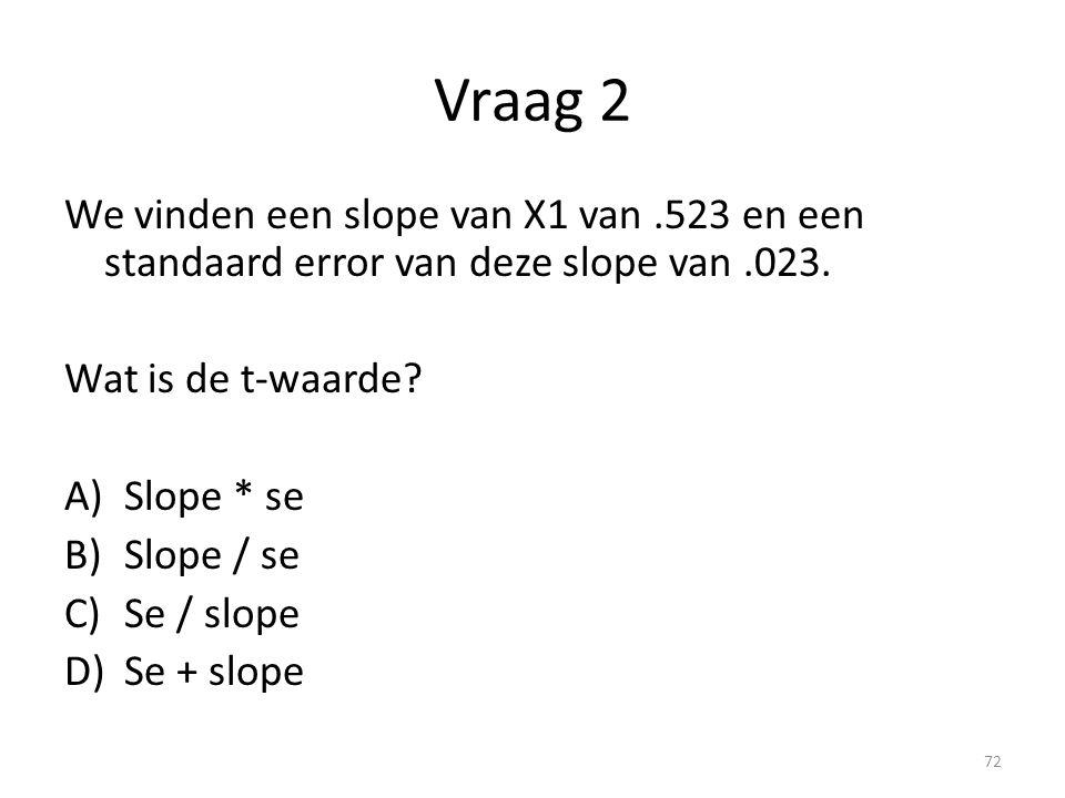 Vraag 2 We vinden een slope van X1 van.523 en een standaard error van deze slope van.023. Wat is de t-waarde? A)Slope * se B)Slope / se C)Se / slope D