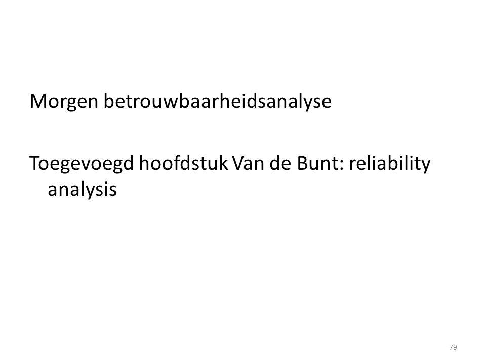 Morgen betrouwbaarheidsanalyse Toegevoegd hoofdstuk Van de Bunt: reliability analysis 79