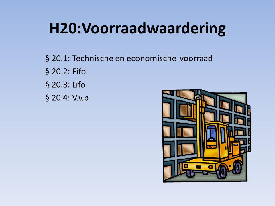 H20:Voorraadwaardering § 20.1: Technische en economische voorraad § 20.2: Fifo § 20.3: Lifo § 20.4: V.v.p