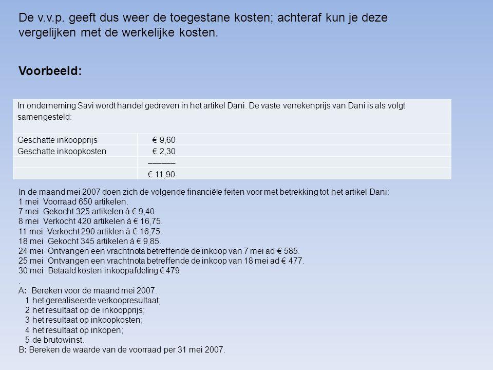 Voorbeeld: In de maand mei 2007 doen zich de volgende financiële feiten voor met betrekking tot het artikel Dani: 1 mei Voorraad 650 artikelen. 7 mei