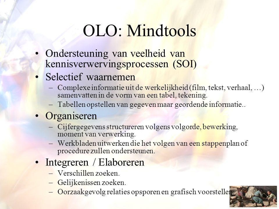 OLO: Mindtools •Ondersteuning van veelheid van kennisverwervingsprocessen (SOI) •Selectief waarnemen –Complexe informatie uit de werkelijkheid (film,