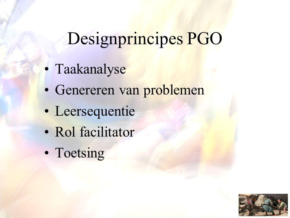 Designprincipes PGO •Taakanalyse •Genereren van problemen •Leersequentie •Rol facilitator •Toetsing