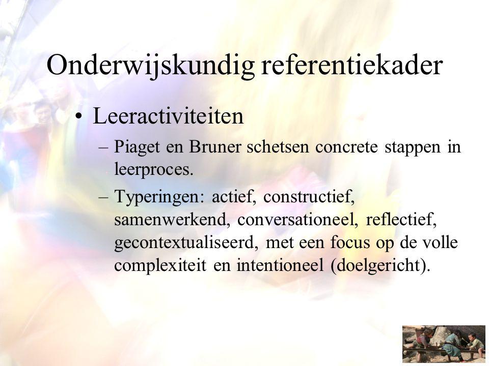 Onderwijskundig referentiekader •Leeractiviteiten –Piaget en Bruner schetsen concrete stappen in leerproces. –Typeringen: actief, constructief, samenw