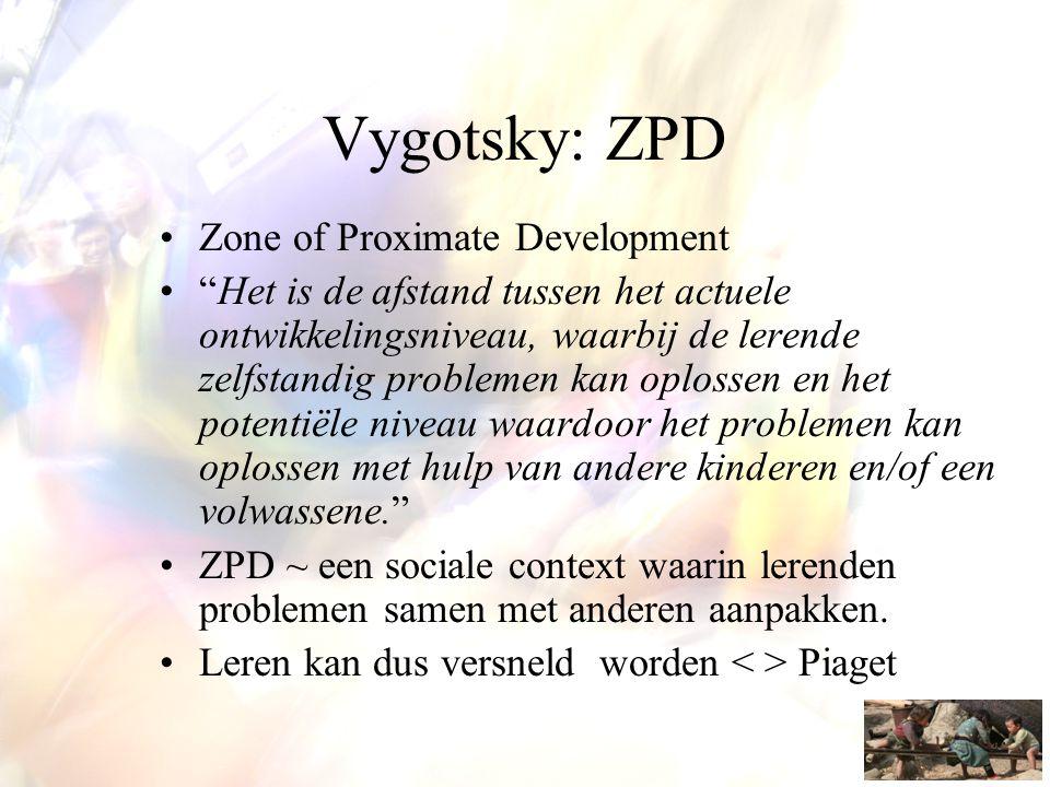 """Vygotsky: ZPD •Zone of Proximate Development •""""Het is de afstand tussen het actuele ontwikkelingsniveau, waarbij de lerende zelfstandig problemen kan"""