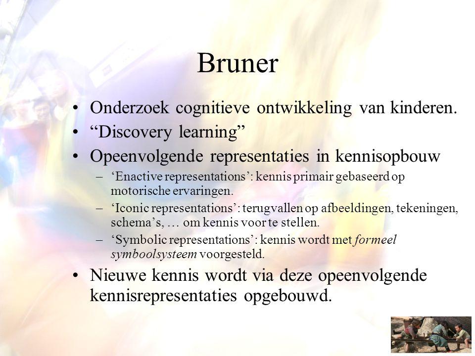 """Bruner •Onderzoek cognitieve ontwikkeling van kinderen. •""""Discovery learning"""" •Opeenvolgende representaties in kennisopbouw –'Enactive representations"""