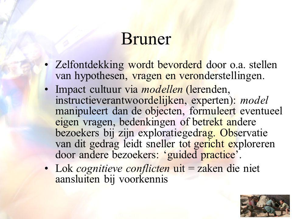 Bruner •Zelfontdekking wordt bevorderd door o.a. stellen van hypothesen, vragen en veronderstellingen. •Impact cultuur via modellen (lerenden, instruc
