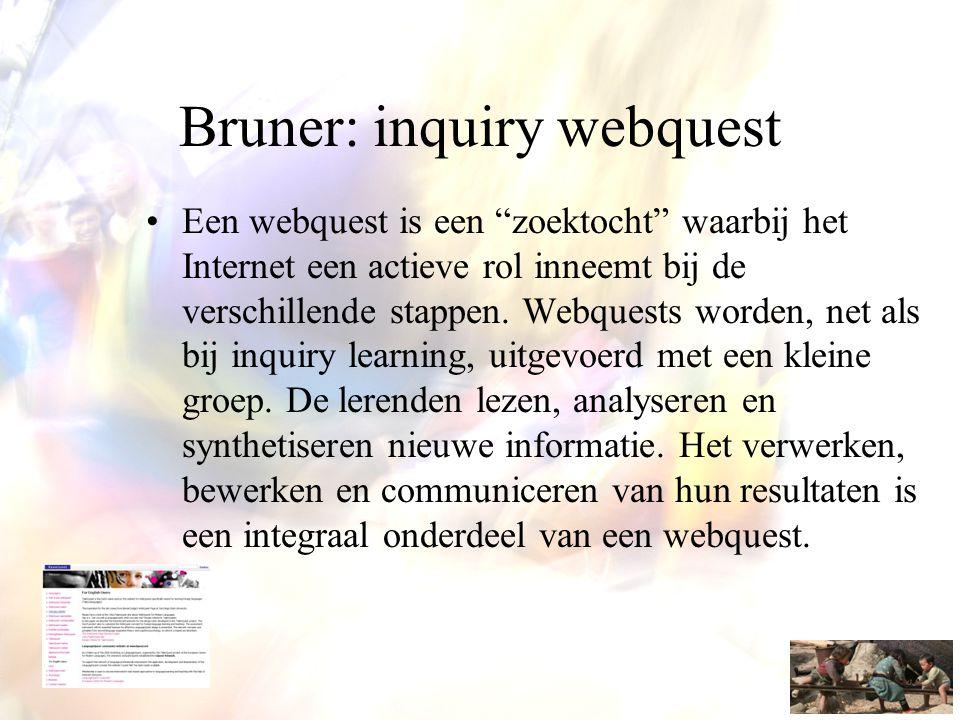 """Bruner: inquiry webquest •Een webquest is een """"zoektocht"""" waarbij het Internet een actieve rol inneemt bij de verschillende stappen. Webquests worden,"""