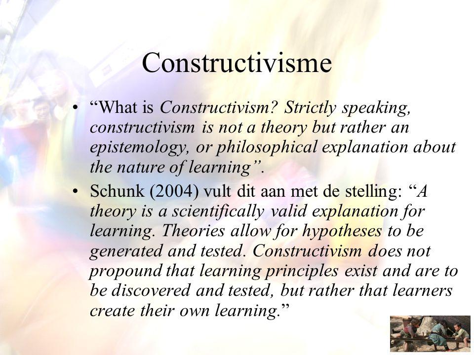 Basisassumpties •Elke lerende brengt bij een leerproces eigen kennis in, die gebaseerd is op eerdere leerprocessen en bepaalt hoe en wat verder wordt geleerd.