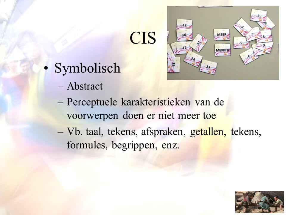 CIS •Symbolisch –Abstract –Perceptuele karakteristieken van de voorwerpen doen er niet meer toe –Vb. taal, tekens, afspraken, getallen, tekens, formul