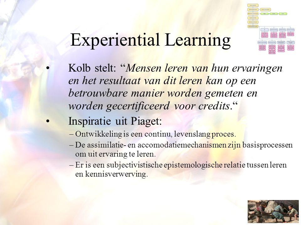 """Experiential Learning •Kolb stelt: """"Mensen leren van hun ervaringen en het resultaat van dit leren kan op een betrouwbare manier worden gemeten en wor"""