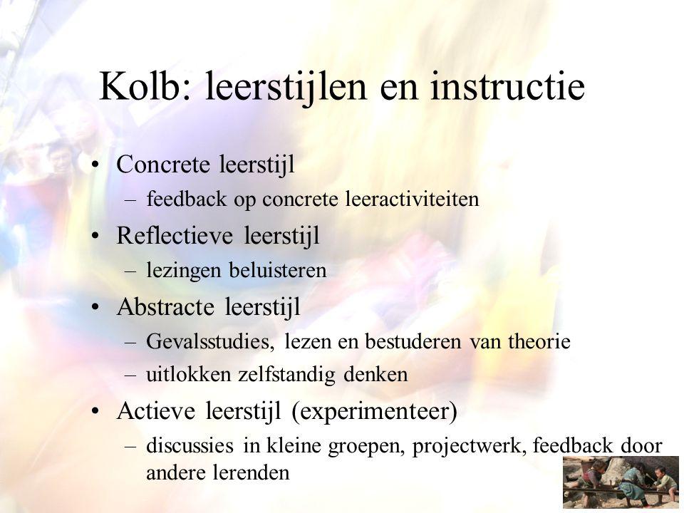 Kolb: leerstijlen en instructie •Concrete leerstijl –feedback op concrete leeractiviteiten •Reflectieve leerstijl –lezingen beluisteren •Abstracte lee