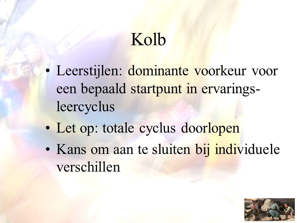 Kolb •Leerstijlen: dominante voorkeur voor een bepaald startpunt in ervarings- leercyclus •Let op: totale cyclus doorlopen •Kans om aan te sluiten bij