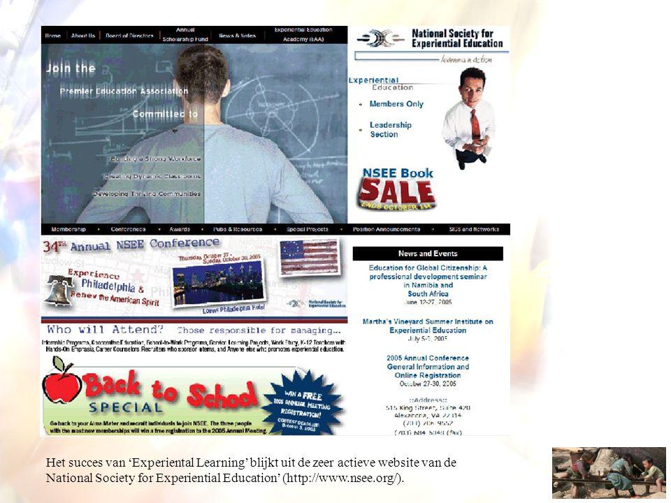 Het succes van 'Experiental Learning' blijkt uit de zeer actieve website van de National Society for Experiential Education' (http://www.nsee.org/).