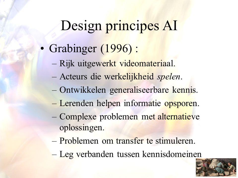 Design principes AI •Grabinger (1996) : –Rijk uitgewerkt videomateriaal. –Acteurs die werkelijkheid spelen. –Ontwikkelen generaliseerbare kennis. –Ler