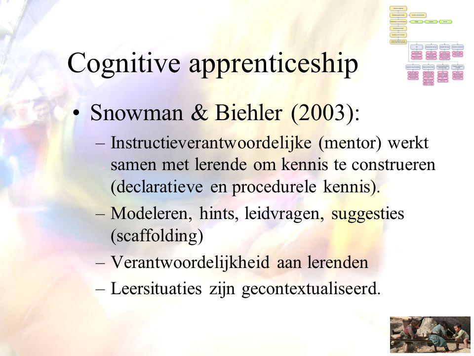 Cognitive apprenticeship •Snowman & Biehler (2003): –Instructieverantwoordelijke (mentor) werkt samen met lerende om kennis te construeren (declaratie