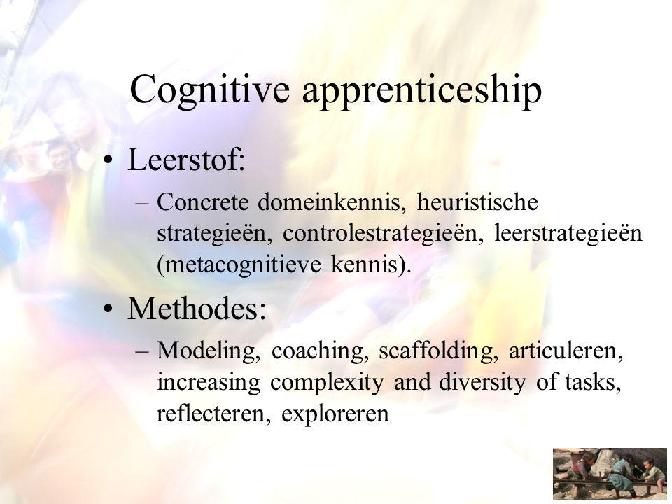 Cognitive apprenticeship •Leerstof: –Concrete domeinkennis, heuristische strategieën, controlestrategieën, leerstrategieën (metacognitieve kennis). •M