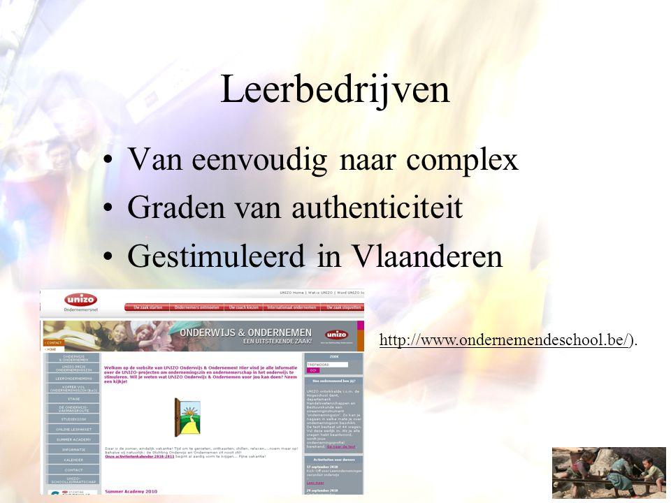 •Van eenvoudig naar complex •Graden van authenticiteit •Gestimuleerd in Vlaanderen http://www.ondernemendeschool.be/).