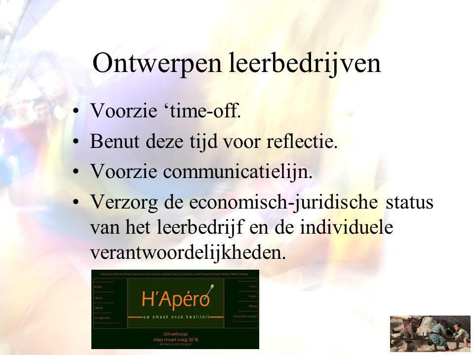Ontwerpen leerbedrijven •Voorzie 'time-off. •Benut deze tijd voor reflectie. •Voorzie communicatielijn. •Verzorg de economisch-juridische status van h