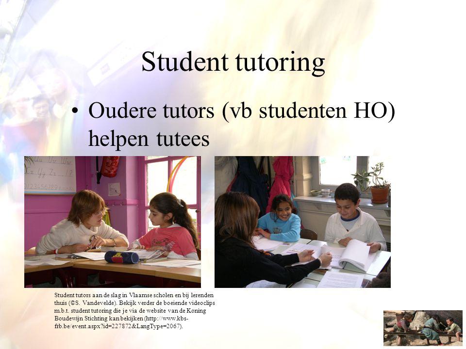 Student tutoring •Oudere tutors (vb studenten HO) helpen tutees Student tutors aan de slag in Vlaamse scholen en bij lerenden thuis (©S. Vandevelde).