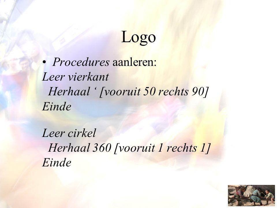 Logo •Procedures aanleren: Leer vierkant Herhaal ' [vooruit 50 rechts 90] Einde Leer cirkel Herhaal 360 [vooruit 1 rechts 1] Einde