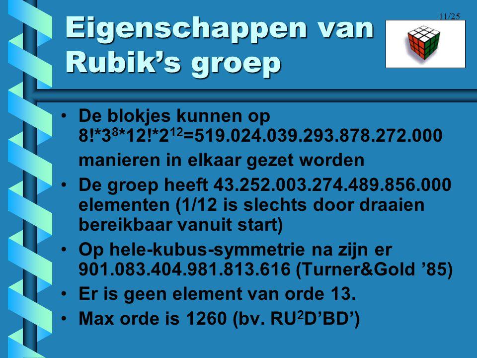11/25 Eigenschappen van Rubik's groep •De blokjes kunnen op 8!*3 8 *12!*2 12 =519.024.039.293.878.272.000 manieren in elkaar gezet worden •De groep he