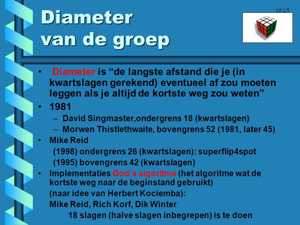"""16/25 Diameter van de groep • Diameter is """"de langste afstand die je (in kwartslagen gerekend) eventueel af zou moeten leggen als je altijd de kortste"""
