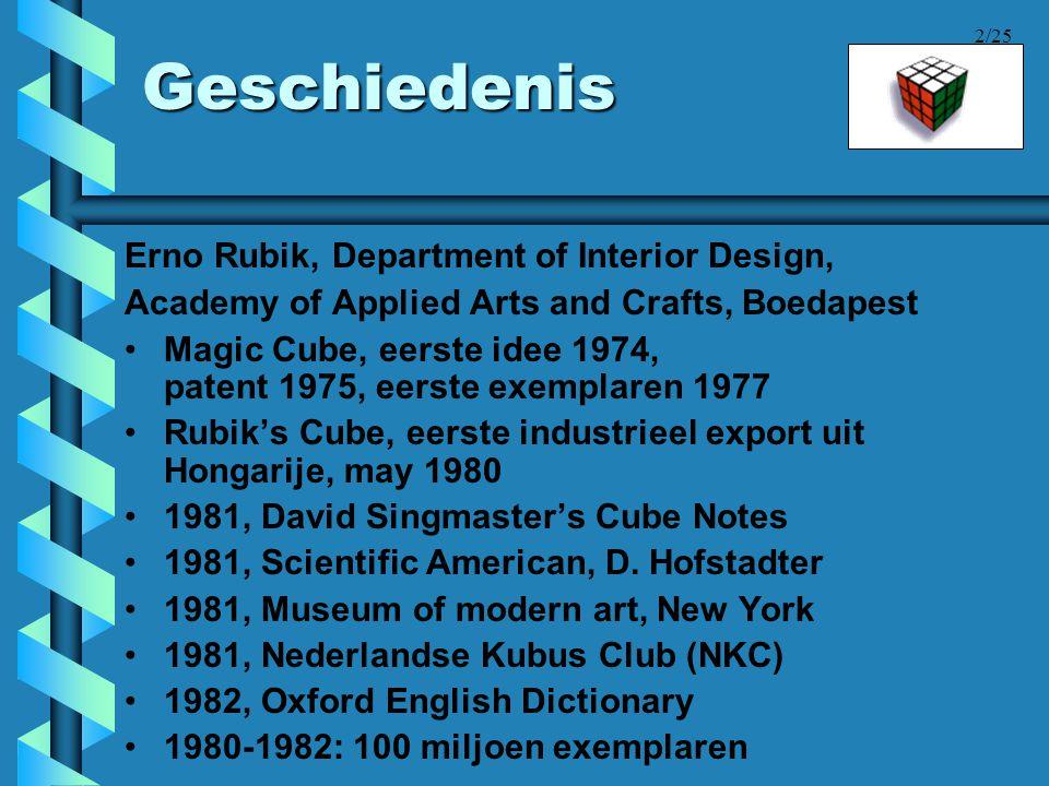 2/25 Geschiedenis Erno Rubik, Department of Interior Design, Academy of Applied Arts and Crafts, Boedapest •Magic Cube, eerste idee 1974, patent 1975,