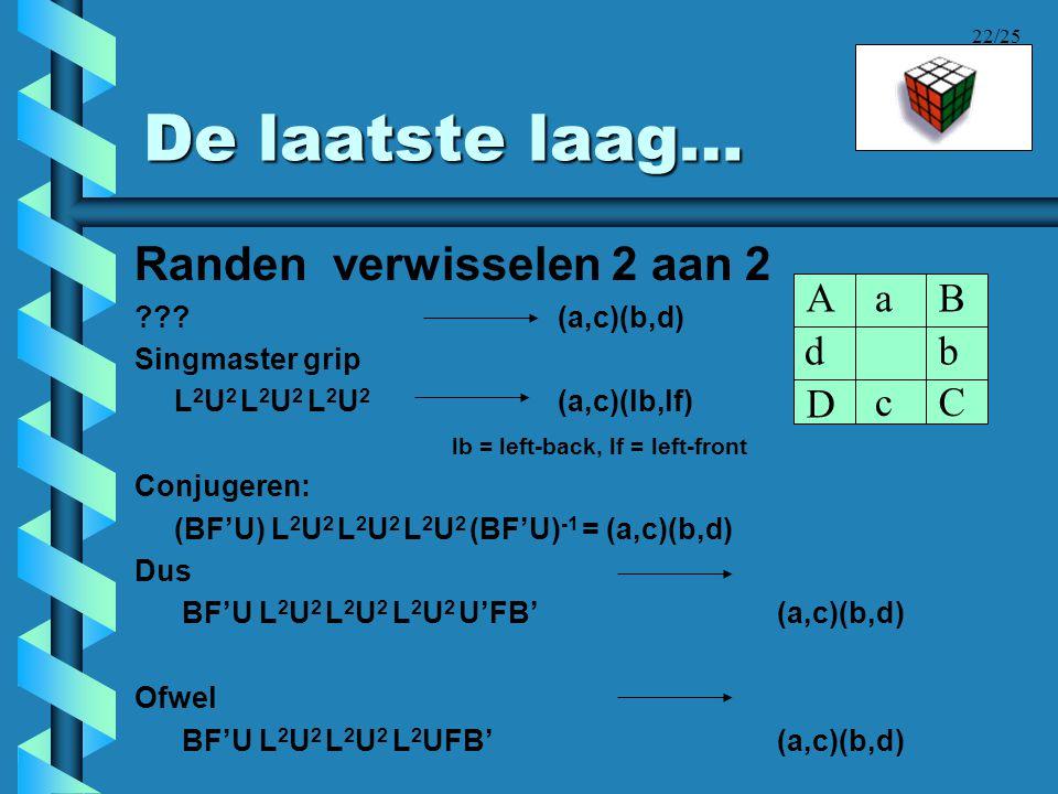 22/25 De laatste laag… Randen verwisselen 2 aan 2 ???(a,c)(b,d) Singmaster grip L 2 U 2 L 2 U 2 L 2 U 2 (a,c)(lb,lf) lb = left-back, lf = left-front C