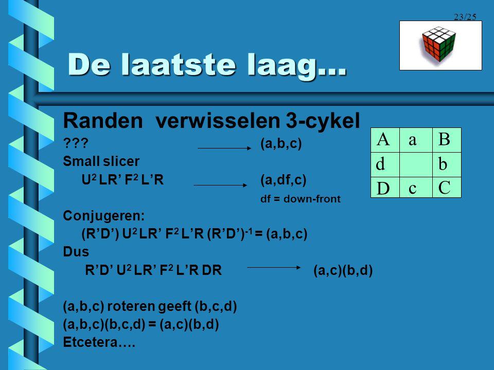 23/25 De laatste laag… Randen verwisselen 3-cykel ???(a,b,c) Small slicer U 2 LR' F 2 L'R (a,df,c) df = down-front Conjugeren: (R'D') U 2 LR' F 2 L'R