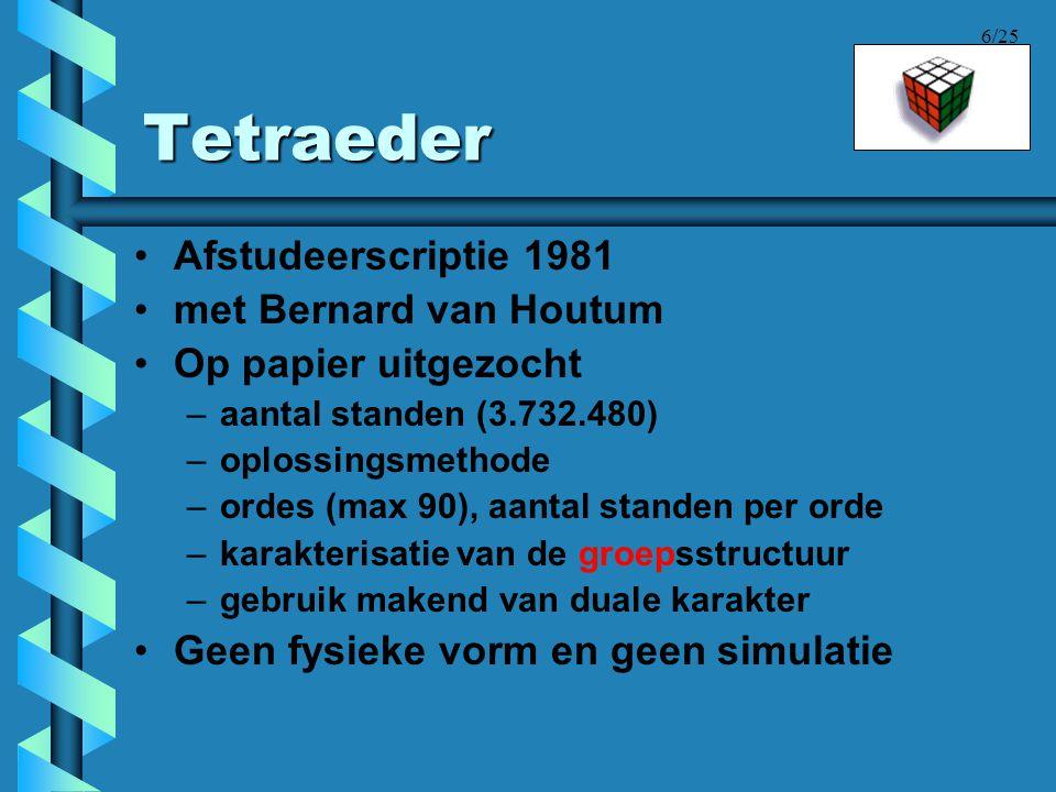 6/25 Tetraeder •Afstudeerscriptie 1981 •met Bernard van Houtum •Op papier uitgezocht –aantal standen (3.732.480) –oplossingsmethode –ordes (max 90), a