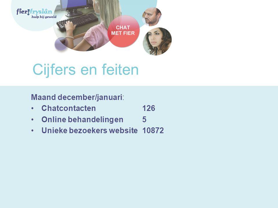 Cijfers en feiten Maand december/januari: •Chatcontacten126 •Online behandelingen5 •Unieke bezoekers website10872
