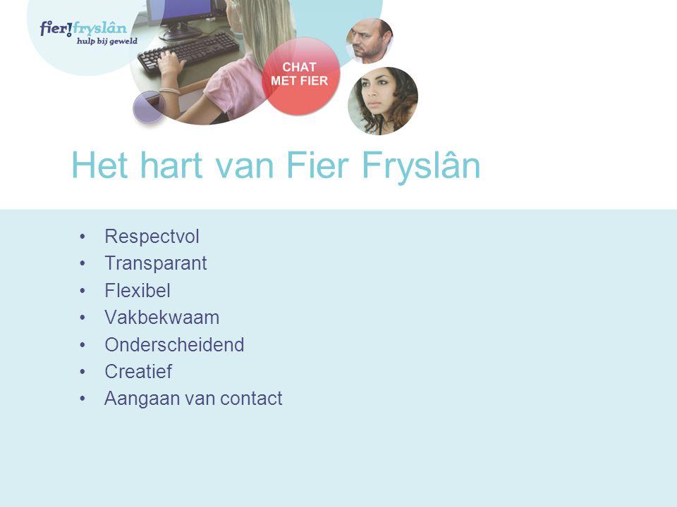 Het hart van Fier Fryslân •Respectvol •Transparant •Flexibel •Vakbekwaam •Onderscheidend •Creatief •Aangaan van contact