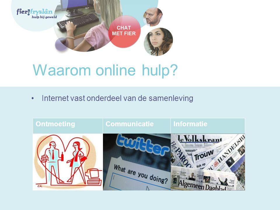 Waarom online hulp? •Internet vast onderdeel van de samenleving OntmoetingCommunicatieInformatie