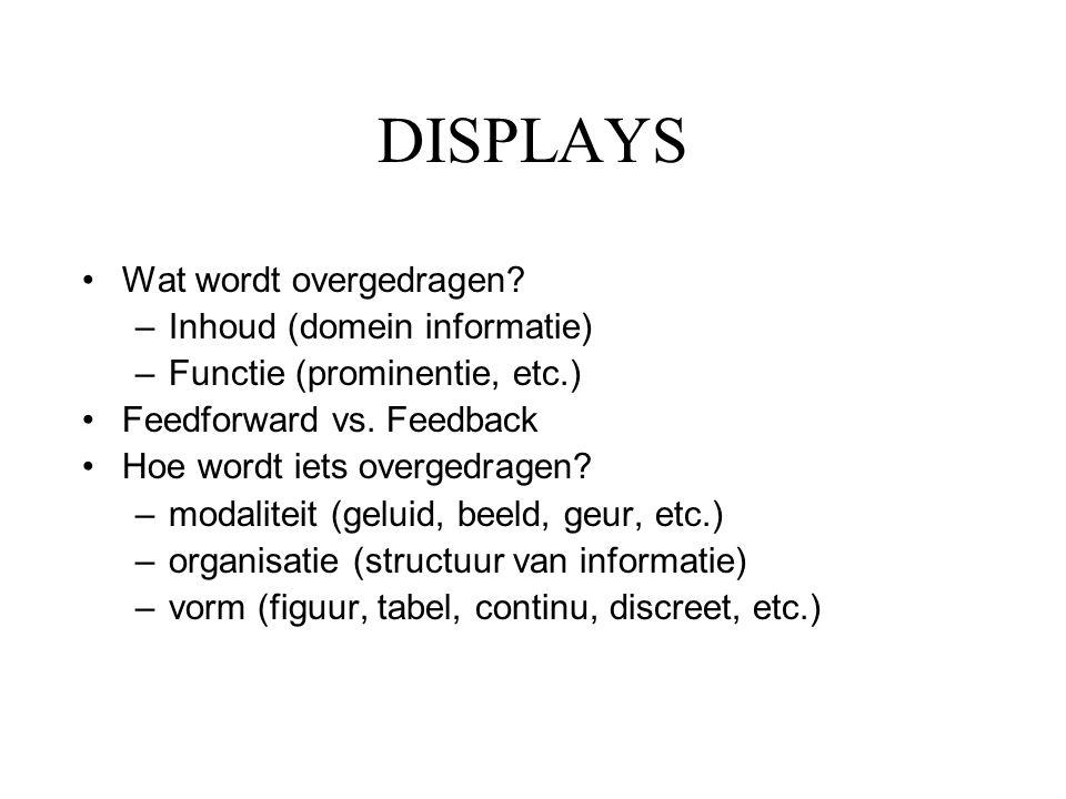 DISPLAYS •Wat wordt overgedragen? –Inhoud (domein informatie) –Functie (prominentie, etc.) •Feedforward vs. Feedback •Hoe wordt iets overgedragen? –mo