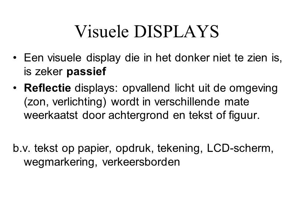 Visuele DISPLAYS •Een visuele display die in het donker niet te zien is, is zeker passief •Reflectie displays: opvallend licht uit de omgeving (zon, v