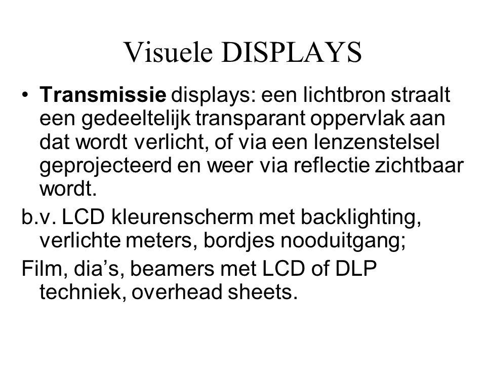 Visuele DISPLAYS •Transmissie displays: een lichtbron straalt een gedeeltelijk transparant oppervlak aan dat wordt verlicht, of via een lenzenstelsel