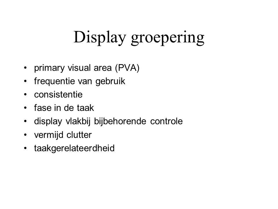 Display groepering •primary visual area (PVA) •frequentie van gebruik •consistentie •fase in de taak •display vlakbij bijbehorende controle •vermijd c