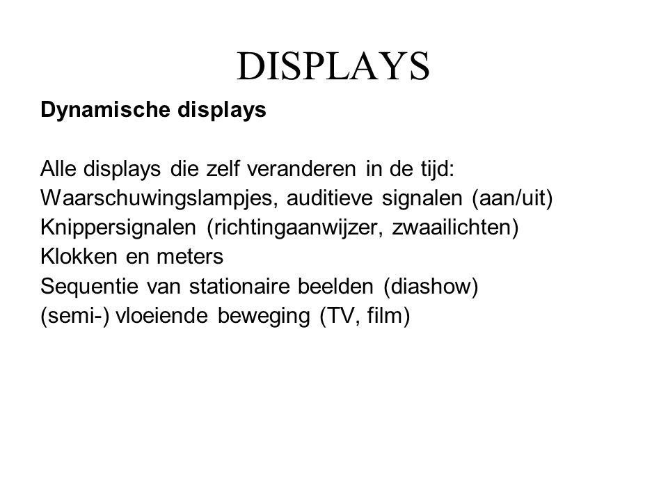 DISPLAYS Dynamische displays Alle displays die zelf veranderen in de tijd: Waarschuwingslampjes, auditieve signalen (aan/uit) Knippersignalen (richtin